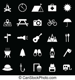 Camping icons on black background
