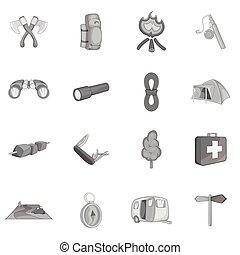 Camping icons set, black monochrome style