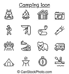 Camping icons set in thin line style