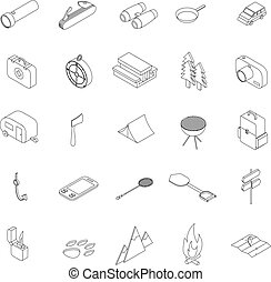 Camping icons set, isometric 3d style