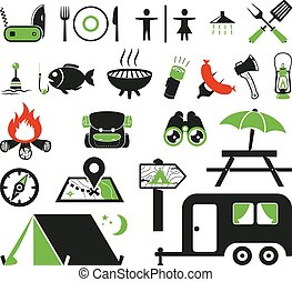 Camping icons set - Camping icons collection