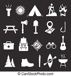 Camping icons set. White on a black background