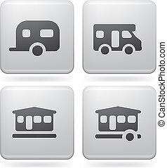 Camping Icons - Various camping icons: Caravan, Camper van,...