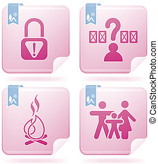 Camping Icons - Various camping icons: Park is not secure,...