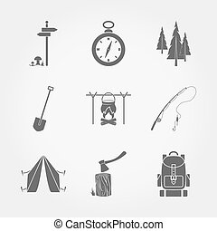 camping, icons.
