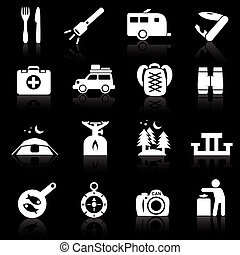 Camping icons white on black