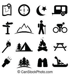 camping, ikon, sæt