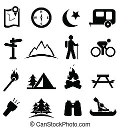 camping, ikone, satz