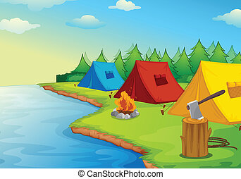 Camping - Illustration of camping near a river in the nature