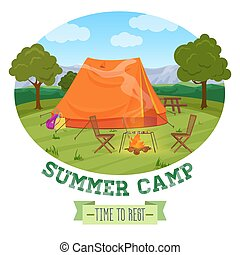 Camping illustration of summer forest in mountains, tent, fireplace with text. Vector illustration.
