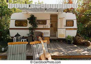 Camping in a trailer, rv campin forest, nobody