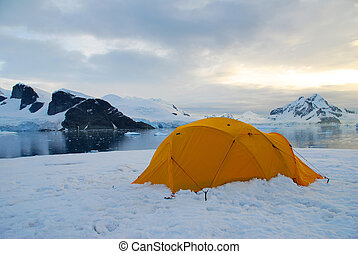 camping in antarctica - yellow tent pitched on an ice flow...
