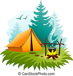 Camping in forest with tent and campfire. Eps10 vector illustration. Isolated on white background