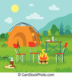 Camping in Mountains, Nature and Tent with Bonfire