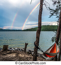 camping in mountains near a lake