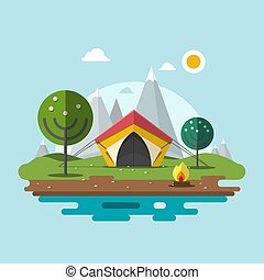 Camping in Nature. Vector Flat Design Landscape with Ten, Fire and Mountains on Background.