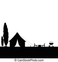 camping in nature with tent black illustration