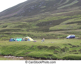 camping in the countryside