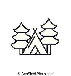 Camping in the forest black icon concept. Camping in the forest flat  vector symbol, sign, illustration.