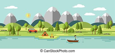 Camping in the mountains, also usable as a continuous ...