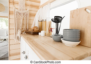 Camping in trailer, rv kitchen and bedroom, nobody