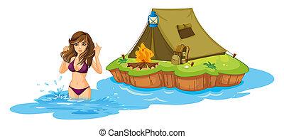 camping, insel, sexy, m�dchen, zelt, schwimmender