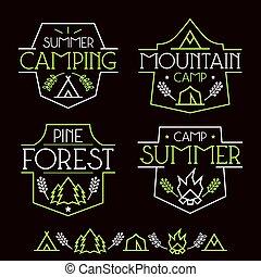camping, insignes, icônes