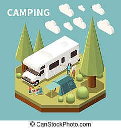 Camping Isometric Concept
