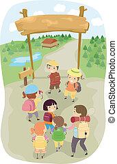 Illustration of Kids Entering a Camp Site