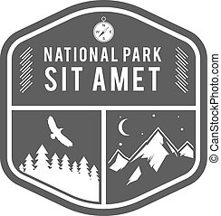 Camping Label. Vintage Mountain winter camp explorer badge. Outdoor adventure logo design. Travel monochrome and hipster color insignia. Snowboard icon symbol. Wilderness emblem and shield. Vector