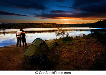 camping, lac, coucher soleil