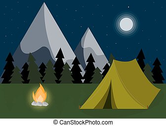 Camping landscape background in flat design. Mountain hike objects.