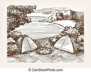 Camping landscape sketch vector illustration
