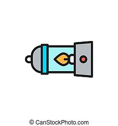 Camping lantern, gas lamp, camp flat color line icon.