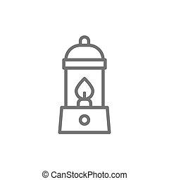Camping lantern, gas lamp, camp line icon.