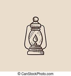 Camping lantern sketch icon.