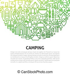 camping, ligne, concept