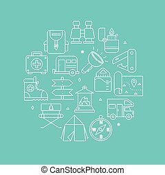 camping, ligne, icône, cercle, ensemble