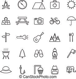 camping, ligne, icônes, blanc, fond