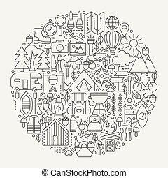 camping, ligne, icônes, cercle
