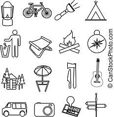 camping, ligne, icônes, ensemble