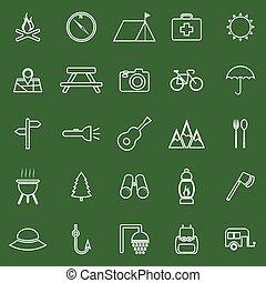 camping, ligne, icônes, sur, arrière-plan vert