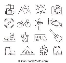 camping, ligne, icônes