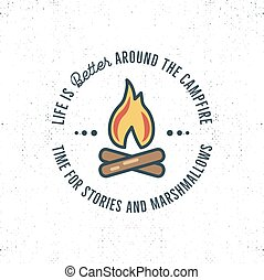 Camping logo design with typography and travel elements -...