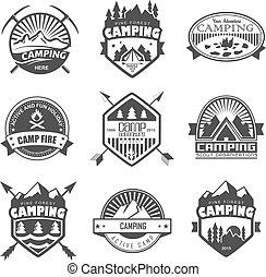 Camping logo, labels and badges. Travel emblems