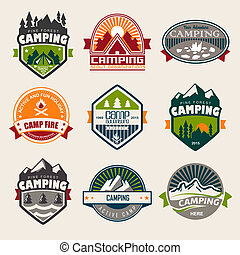 Camping logo, labels and badges. Travel emblems