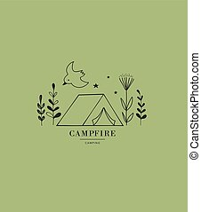 camping, main, tente, dessiné, icon., logo