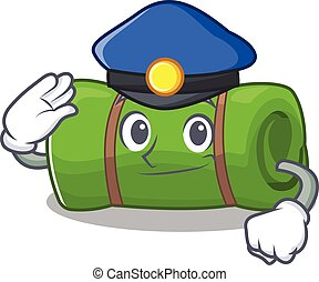 Camping mat Scroll Cartoon mascot style as a Police officer....