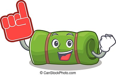 Camping mat Scroll mascot cartoon style with Foam finger....