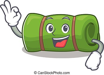 Camping mat Scroll mascot design making an Okay gesture....